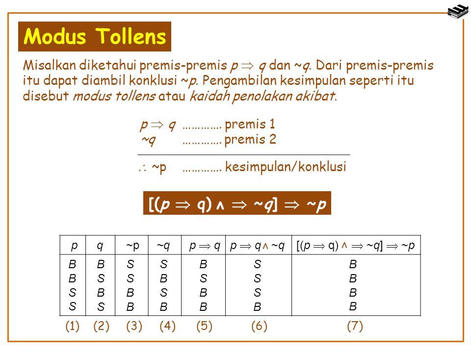 Modus Tollens [(p  q)  ~q]  ~p ν